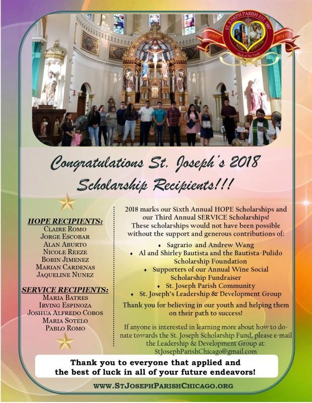 St. Joseph Scholarship Winners 2018